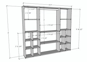 Closet Organizer Dimensional Drawings