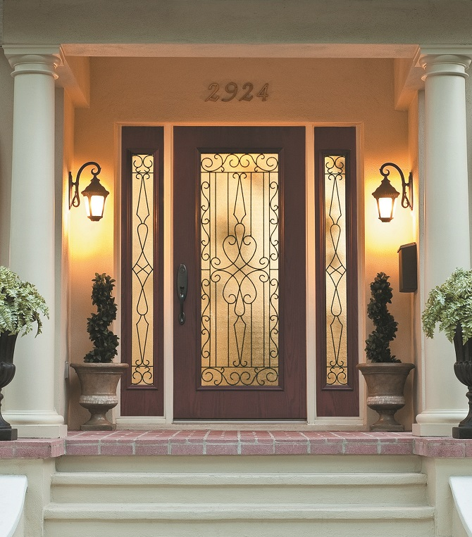 Wrought Iron and Glass Front Entry Door Designs