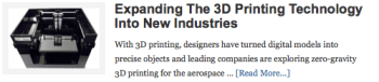 Expanding The 3D Printing Technology Into New Industries
