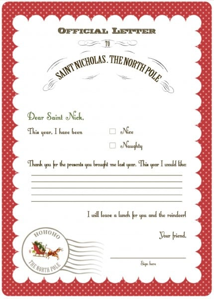 Free letter to Santa template! KindergartenKlub Pinterest - best of leave letter format going hometown
