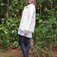 Look do dia - White leather dress
