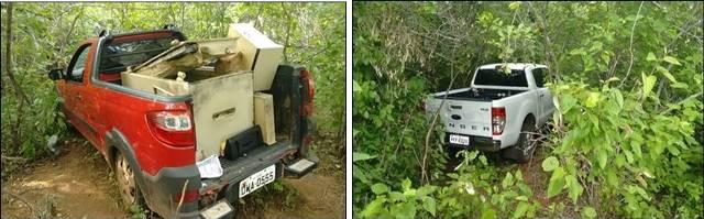 Veículos e cofre encontrados por caçadores