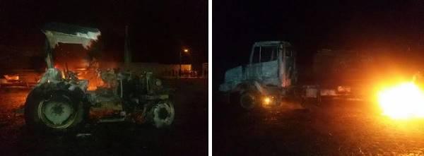 Trator e caminhões indendiados