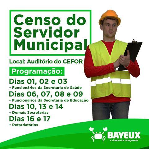 Prefeitura de Bayeux convoca servidor para recadrastamento através do censo