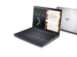 O notebook da Dell possui acabamento em alumínio escovado.
