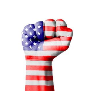 Fist of America (USA) flag painted
