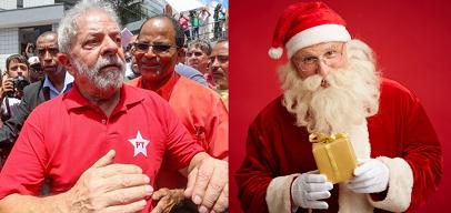 Um senhor de barba vestido de vermelho