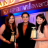 The Globe Corporate Brand Management Team led by its Director Roland Jonas Ferrer (middle), Anica Mayo (left) and Kristel Or (right) receive the Anvil Awards