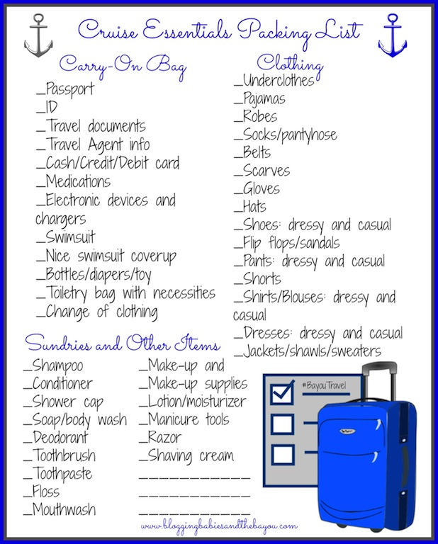 travel lists packing template