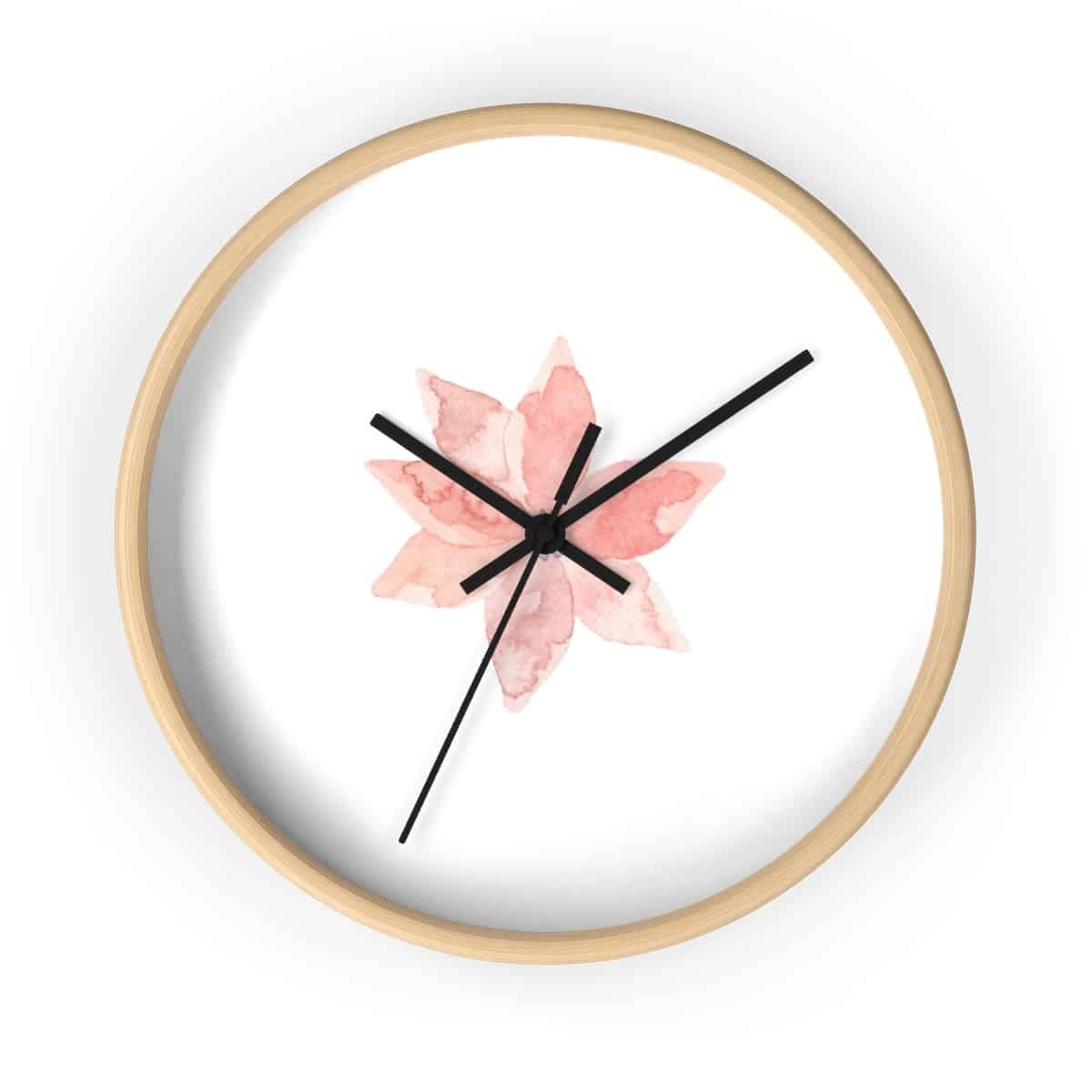 Statement Wall Clocks Watercolor Lilly Print Wooden Wall Clock Blogging Mode