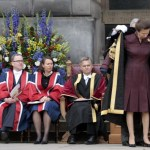 Author JK Rowling (L) waits to be awarde