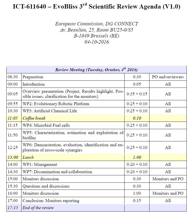 Technical Review Meeting 3-4 October, 2016, Brussels Evobliss - collaboration meeting agenda