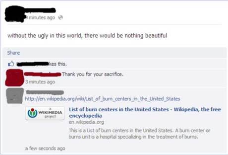 &quot;without the ugly in this world, there would be no beautiful&quot;  &quot;Thank you for your sacrifice.&quot;