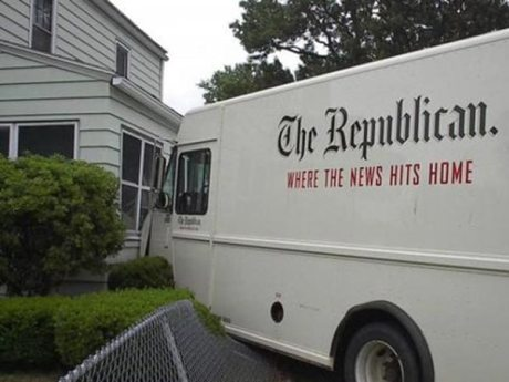 Newpaper Delivery Irony: &quot;The Republican: Where the News Hits Home&quot;