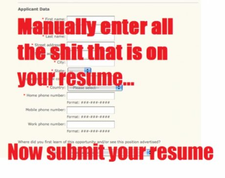 Manually enter all the shit that is on your resume.... Now submit your resume!