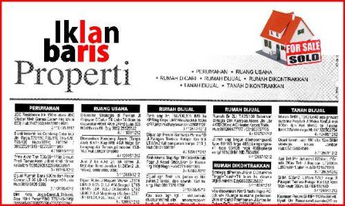 jual rumah pada iklan baris di koran