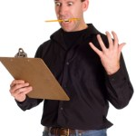 A man with a clipboard freaking out, isolated against a white background