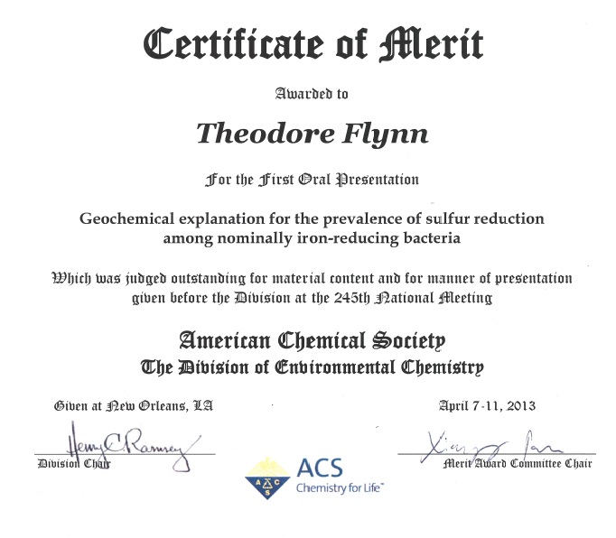 Flynn receives Certificate of Merit - merit certificate comments