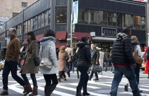 Heavy pedestrian traffic often clogs the streets of SoHo. Photo by Emma Kazaryan.