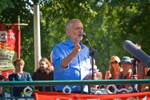 Jeremy Corbyn, Leader of the Labour Party, UK, speaking at rally