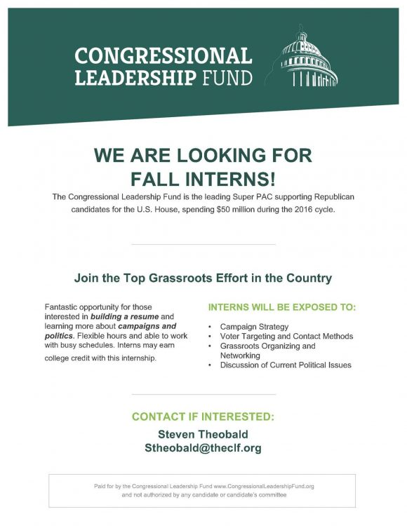Internship Opportunity Congressional Leadership Fund Internship - looking for an internship
