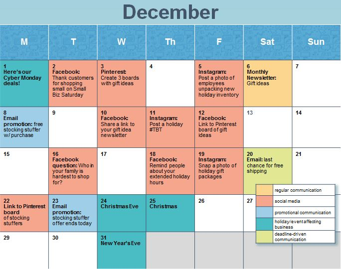 How to Create a Holiday Social Media Calendar - create a picture calender