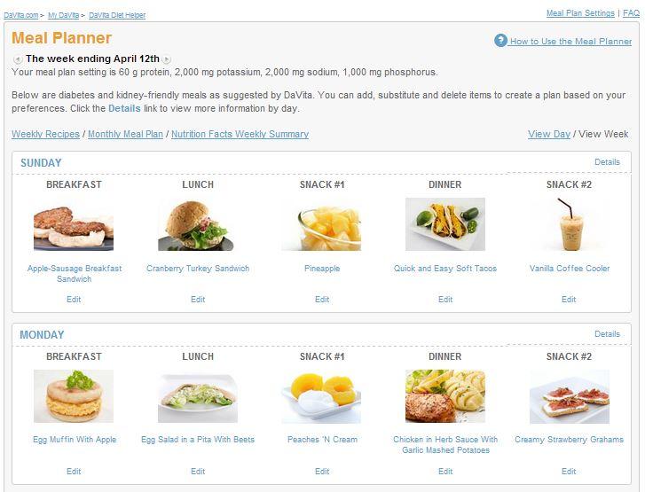 DaVita Diet Helper \ - diabetic daily menu