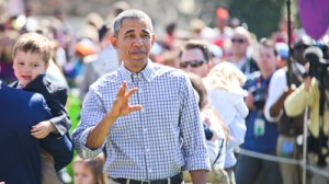 President Barack Obama waves to the press at the 2015 Easter egg roll on the South Lawn of the White House. Cameron Lancaster | Photo Editor