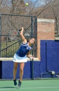Leah Pascarella hits an overhead shot earlier this season. | Hatchet File Photo
