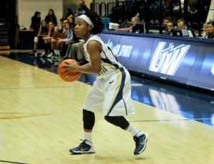 Graduate student Danni Jackson looks for an open teammate earlier this season. Jackson moved into GW's top 10 in assists after her seven dimes against Jacksonville State. Hatchet File Photo