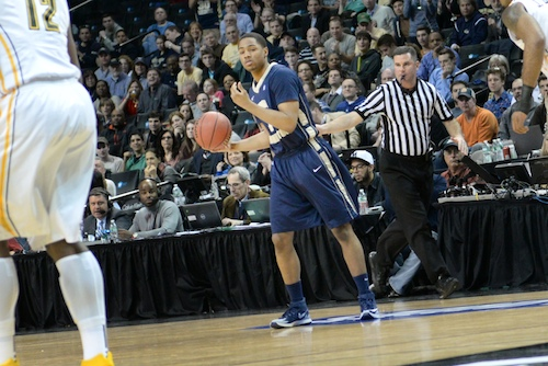 "Sophomore Joe McDonald tries to captain GW's offense against VCU's ""havoc"" defense. Samuel Klein 