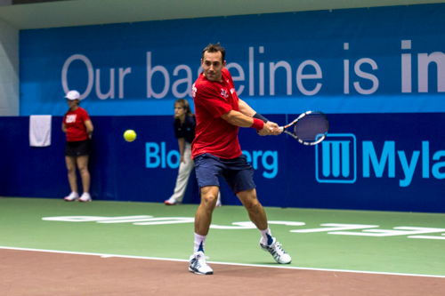 Bobby Reynolds of the Washington Kastles returns a serve. Reynolds won the men's singles set 5-3. Zach Montellaro | Hatchet Staff Photographer