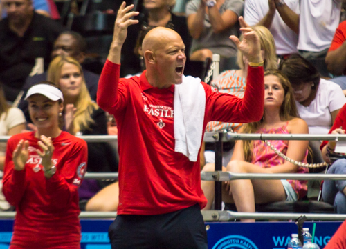 Washington Kastles Head Coach Murphy Jensen pumps up the crowd during Tuesday's match. Zach Montellaro | Hatchet Staff Photographer