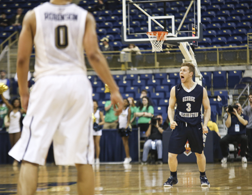 Freshman Paul Jorgensen celebrates after hitting a crucial three-point shot in the second half. Cameron Lancaster | Photo Editor