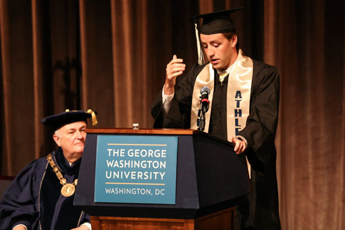 Senior men's rowing captain Matthew Coughlin spoke about his first experiences at GW in his speech at athletics commencement. Dan Rich | Contributing Photo Editor