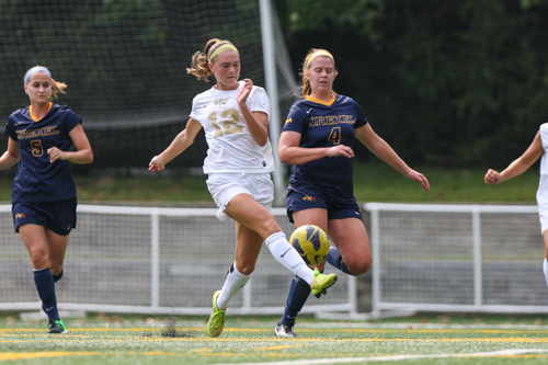 Junior forward MacKenzie Cowley makes a play for the ball during GW's loss to Drexel Friday afternoon. Dan Rich | Contributing Photo Editor
