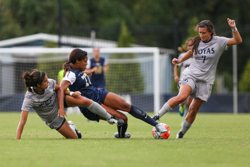Then-senior forward Kyla Ridley fights for the ball in the Colonials' 4–1 loss to Georgetown last September. Dan Rich | Contributing Photo Editor