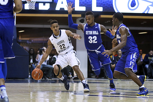 Senior guard Joe McDonald dribbles in GW's win over Seton Hall earlier this season. Seton Hall would go on to win the Big East Tournament and be a No. 6 seed in the NCAA tournament. Desiree Halpern | Photo Editor