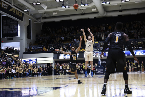 VCU's visit to the Smith Center yielded a much less desirable outcome. In the battle of the then-bubble teams, the Rams defeated the Colonials on their home floor. Dan Rich | Contributing Photo Editor