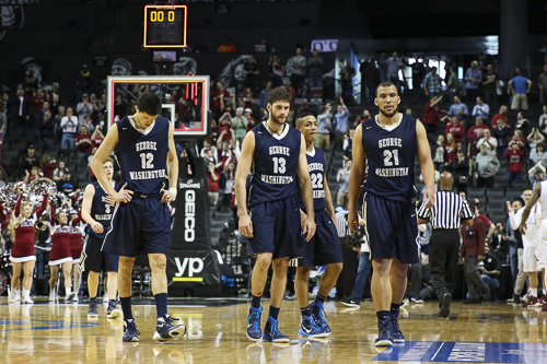 The Colonials' NCAA tournament hopes ended in the quarterfinals of the Atlantic 10 tournament against Saint Joseph's. GW failed to defend a 14-point halftime lead. Dan Rich | Contributing Photo Editor