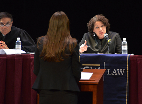 Supreme Court Justice Sonia Sotomayor hears a moot court case presented by four GW Law School students. Jordan Leon | Hatchet Photographer