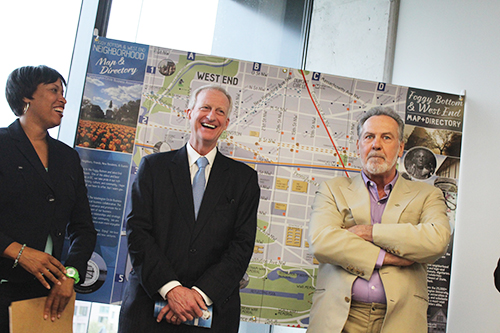 D.C. Council members and former University President Stephen Joel Trachtenberg convened on campus Tuesday to toast a map of the area that will stimulate the small businesses it highlights.  Sam Hardgrove | Hatchet Staff Photographer