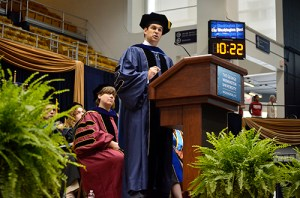 Interm Dean Christopher Kayes charged business school graduates to carry on the traditions of George Washington as they move forward in their professional lives Thursday. Erica Christian | Photo Editor