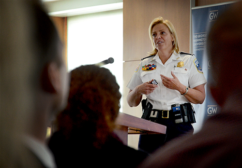 Metropolitan Police Department Chief Cathy Lanier announced she will resign from her position in MPD Tuesday to take a job leading security for the National Football League. Katie Causey | Hatchet file photo