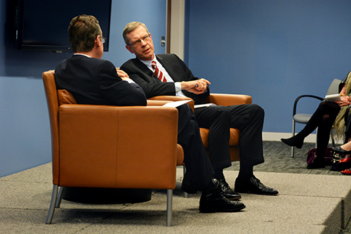 Former National Intelligence Council Chairman Christopher Kojm, now an Elliott School visiting professor, talked about national security and future international challenges with Dean Michael Brown. Sam Hardgrove | Hatchet Staff Photographer