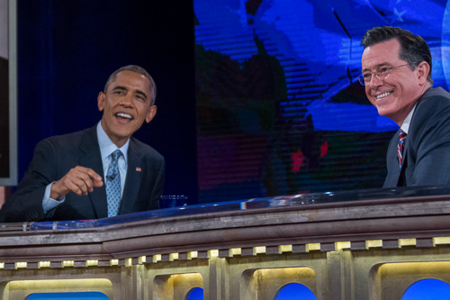 President Barack Obama talked immigration and the midterm elections with Stephen Colbert during one of the final tapings of the Colbert Report,, held in Lisner Auditorium, on November 8, 2014. Sam Hardgrove | Hatchet Staff Photographer