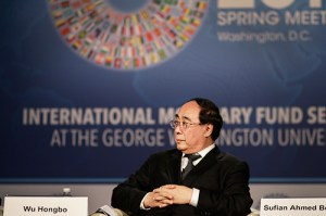 Wu Hongbo, United Nations under-secretary-general for economic and social affairs, spoke on a panel discussion about sustainable development goals as part of the International Monetary Fund spring meetings. Nicole Radivilov | Hatchet Staff Photographer