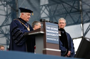 University President Steven Knapp introduces Commencement speaker and Apple CEO Tim Cook. Dan Rich | Contributing Photo Editor
