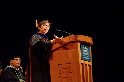 Associate Dean Mary A. Corcoran lead the 2015 Graduation Celebration of the George Washington University School of Medicine and Health Sciences. Katie Causey | Photo Editor