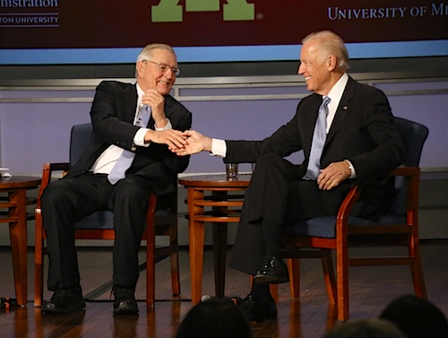Former Vice President Walter Mondale and Vice President Joe Biden talked about their  experiences on the job. Desiree Halpern | Photo Editor